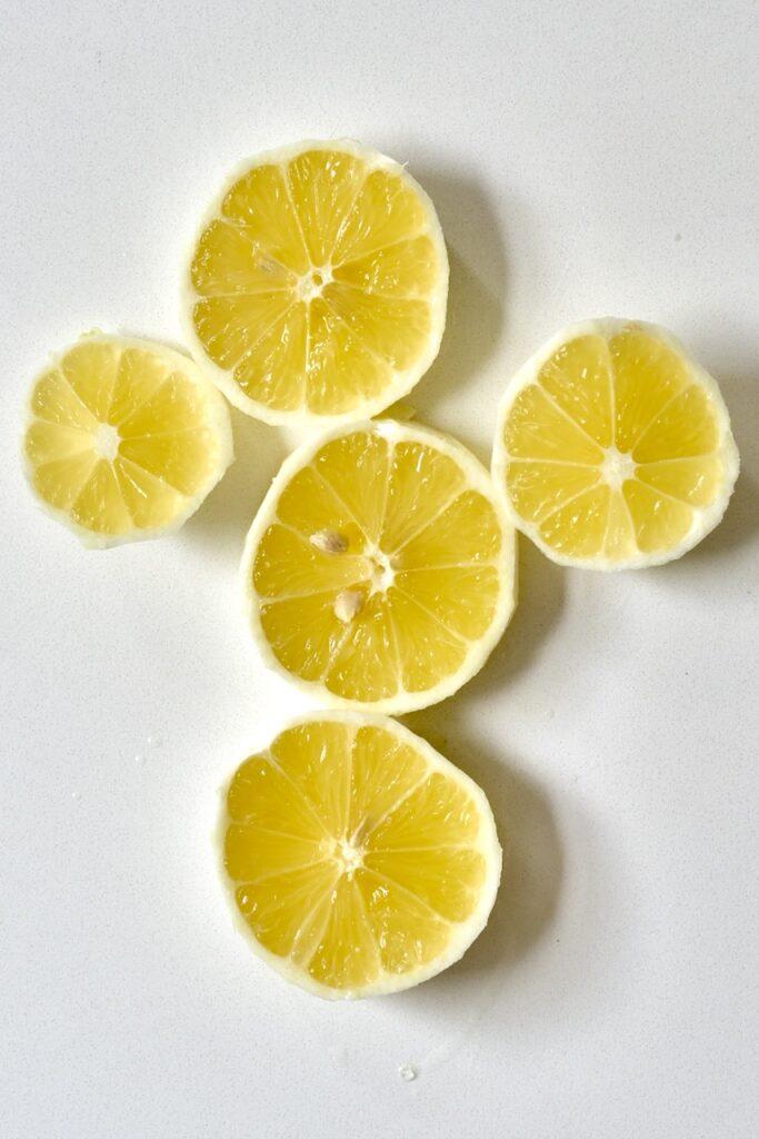 five slices of lemon