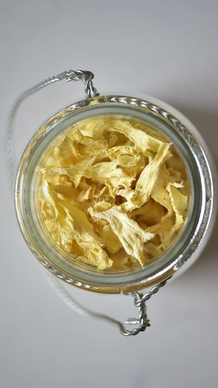 ginger chips inside a glass container