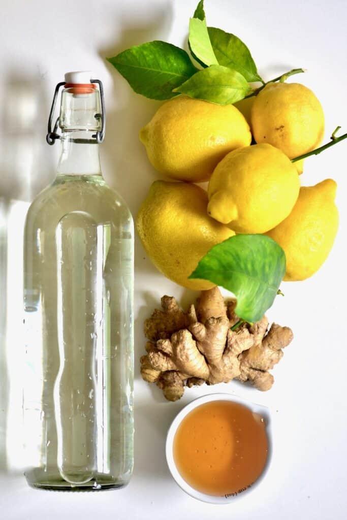 ingredients for making ginger lemonade