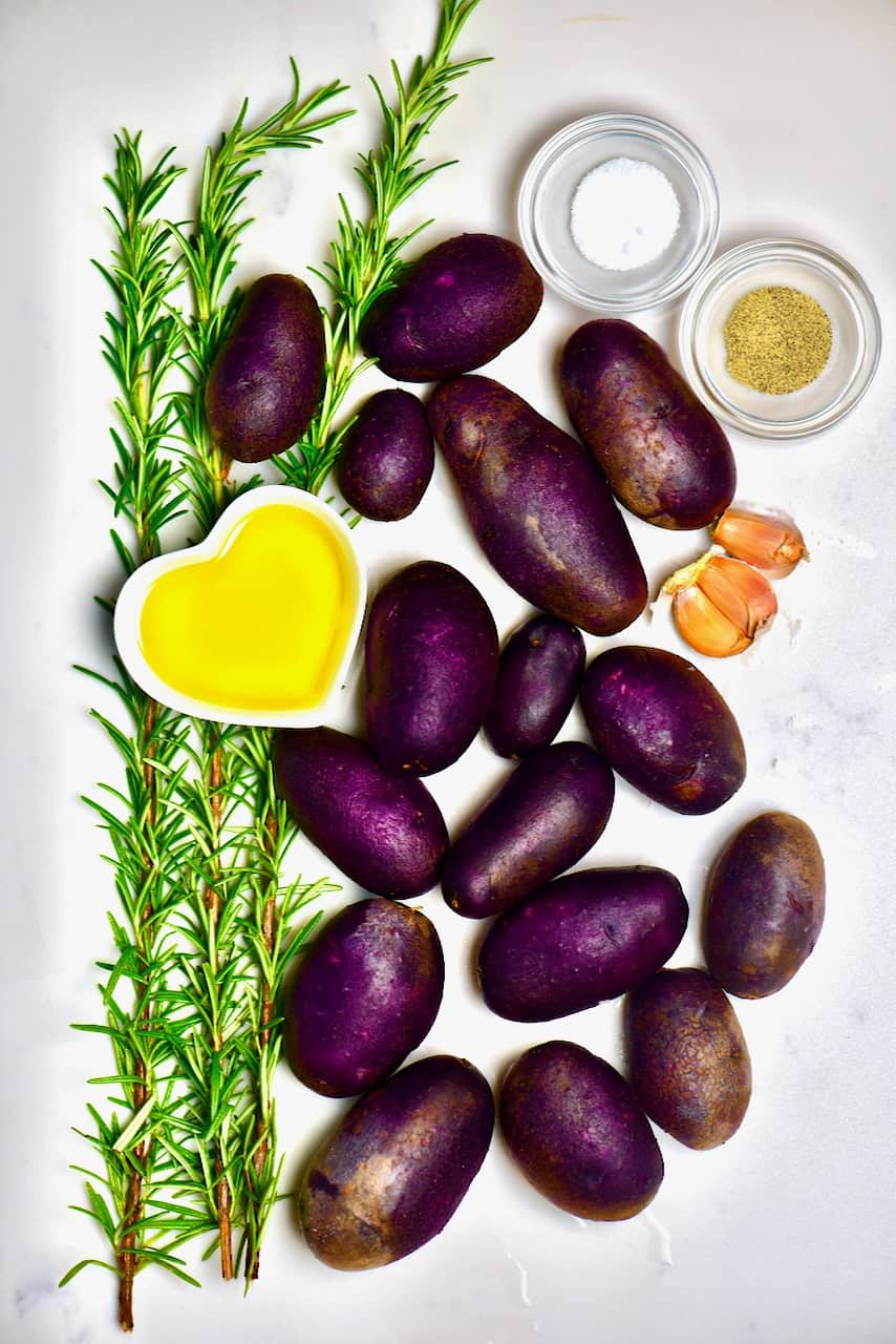 ingredients for making roasted purple potatoes