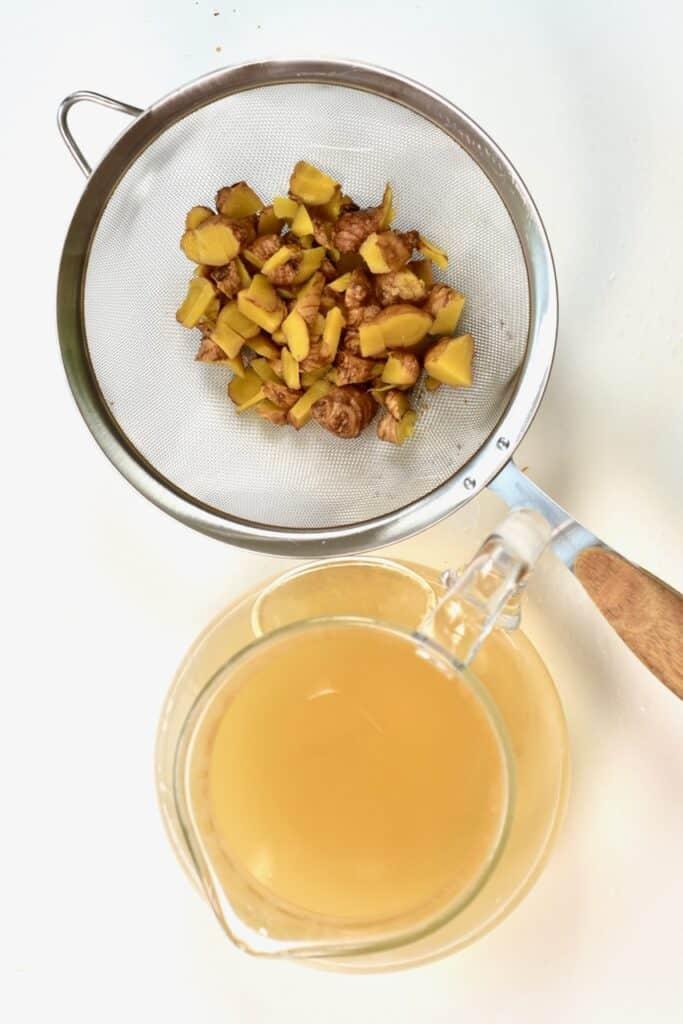 leftover boiled ginger and the boiled ginger water jug