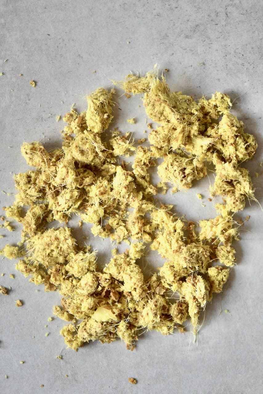 leftover ginger pulp after juicing ginger root