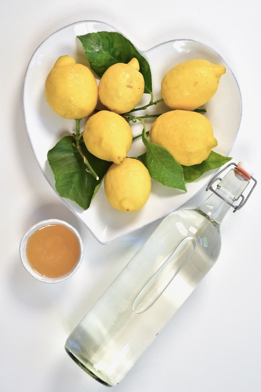 lemons honey and water bottle
