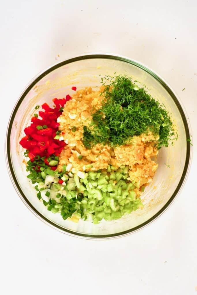 mashed potato mix and chopped veggies