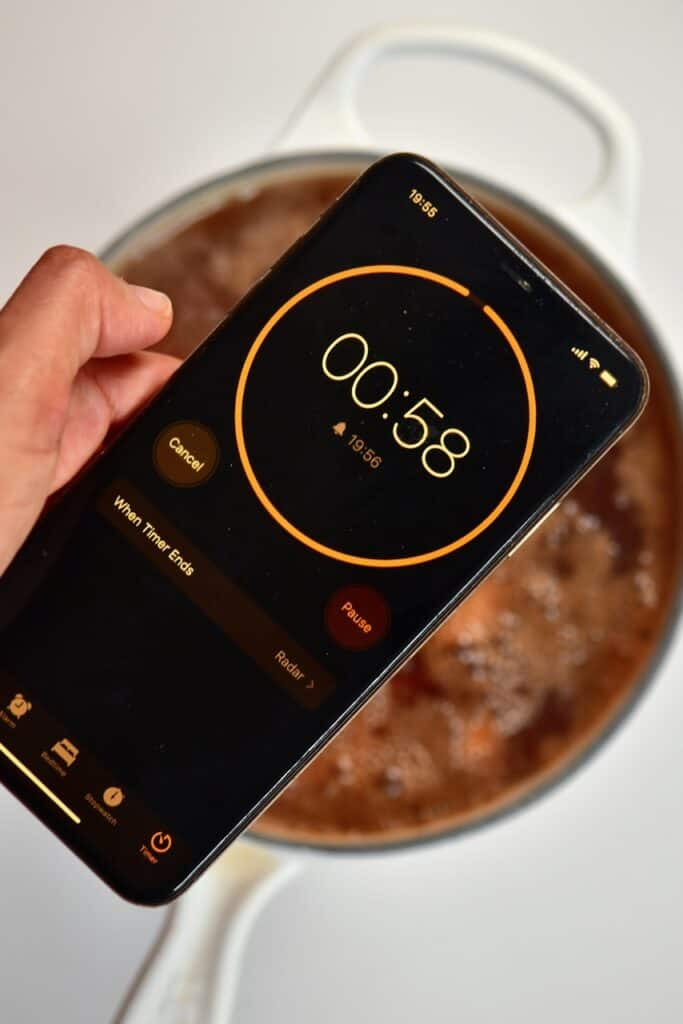 phone timer for one minute to boil almonds