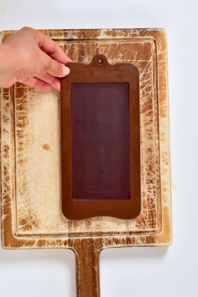 set Milk Chocolate inside a chocolate mold