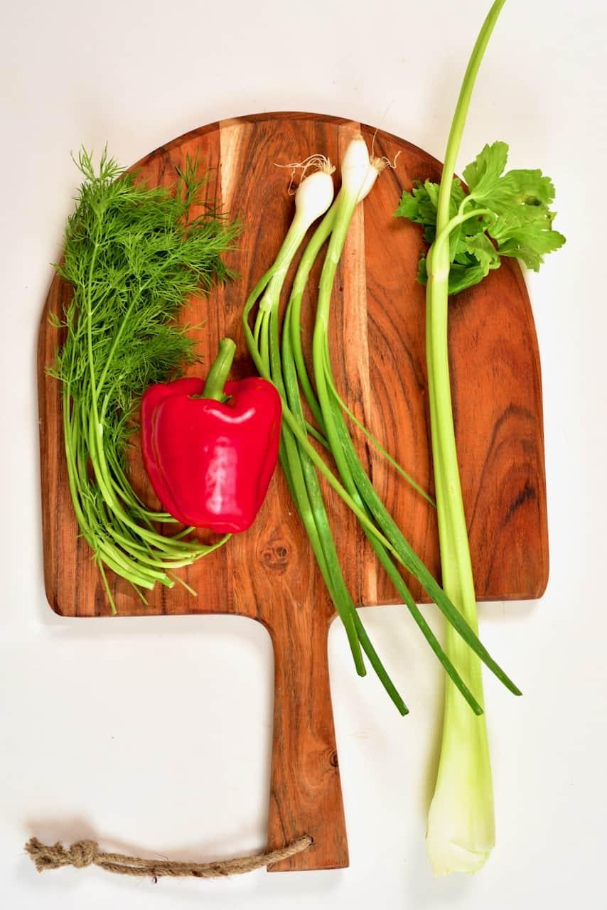 vegetables to make egg potato salad
