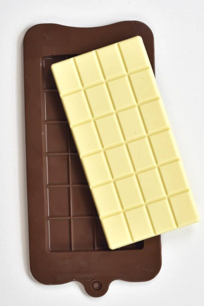 white chocolate bar taken out from a mold