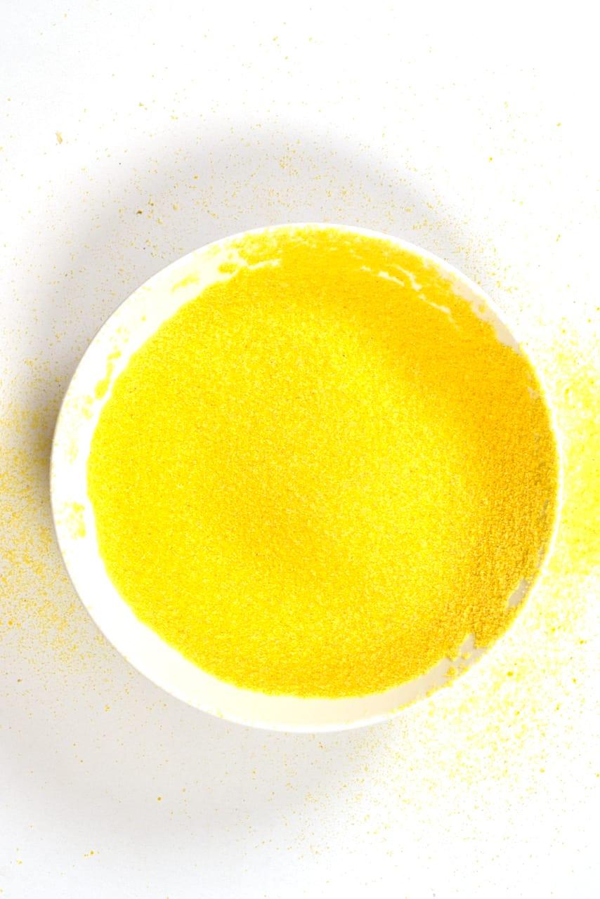A bowl with corn flour