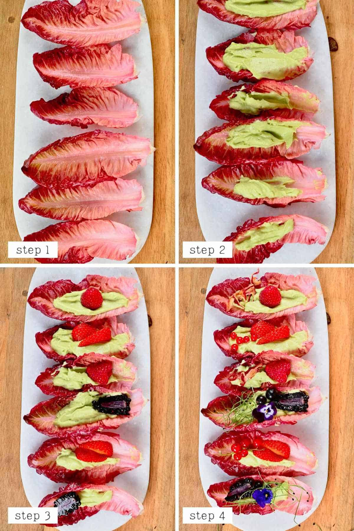 Steps for making berry lettuce wraps