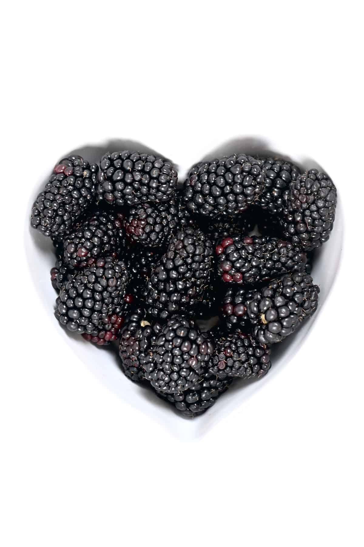 Blackberries in a heart shaped bowl
