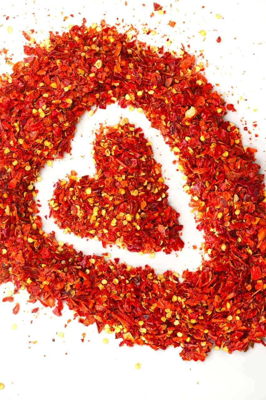 Chilli flakes spread in a heart shape