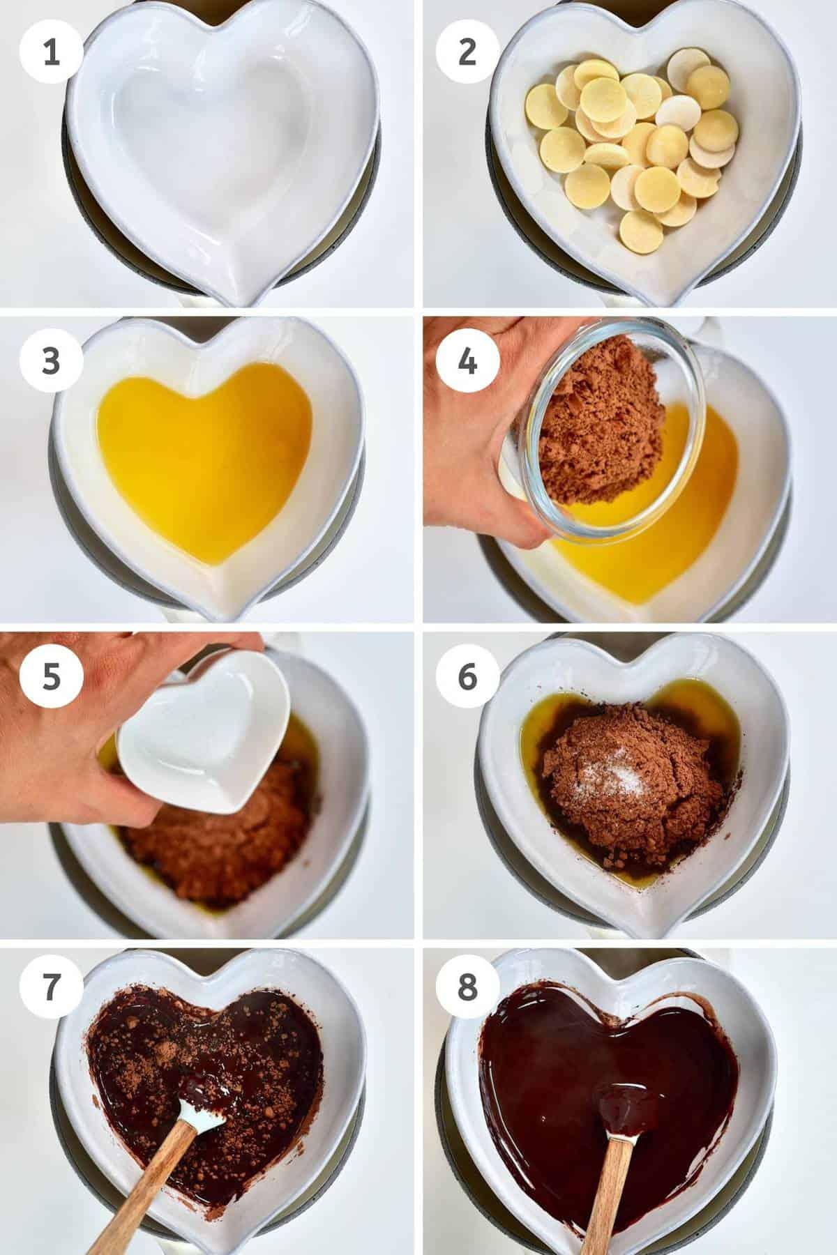 Collage of making dark chocolate steps
