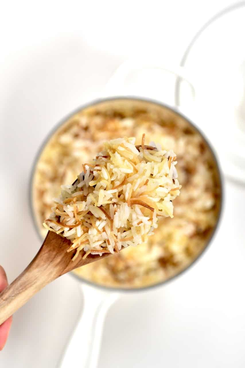 Cooked Vermicilli Rice in a spoon