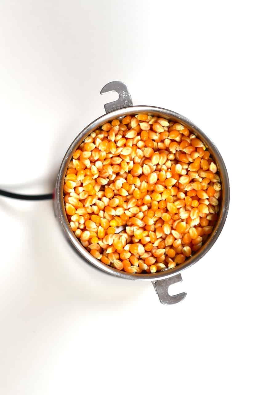 Dried corn in a grinder