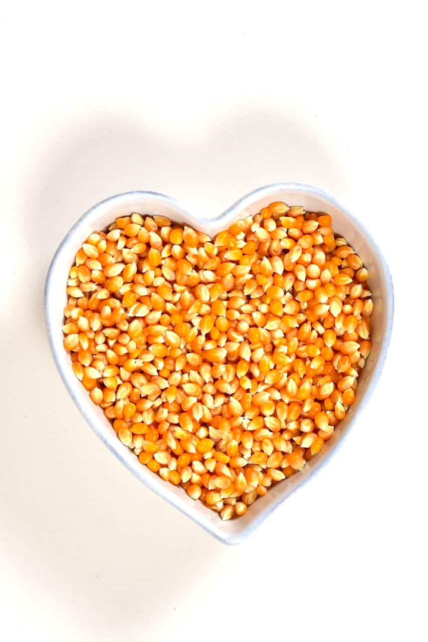 Dried corn in a heart shaped bowl