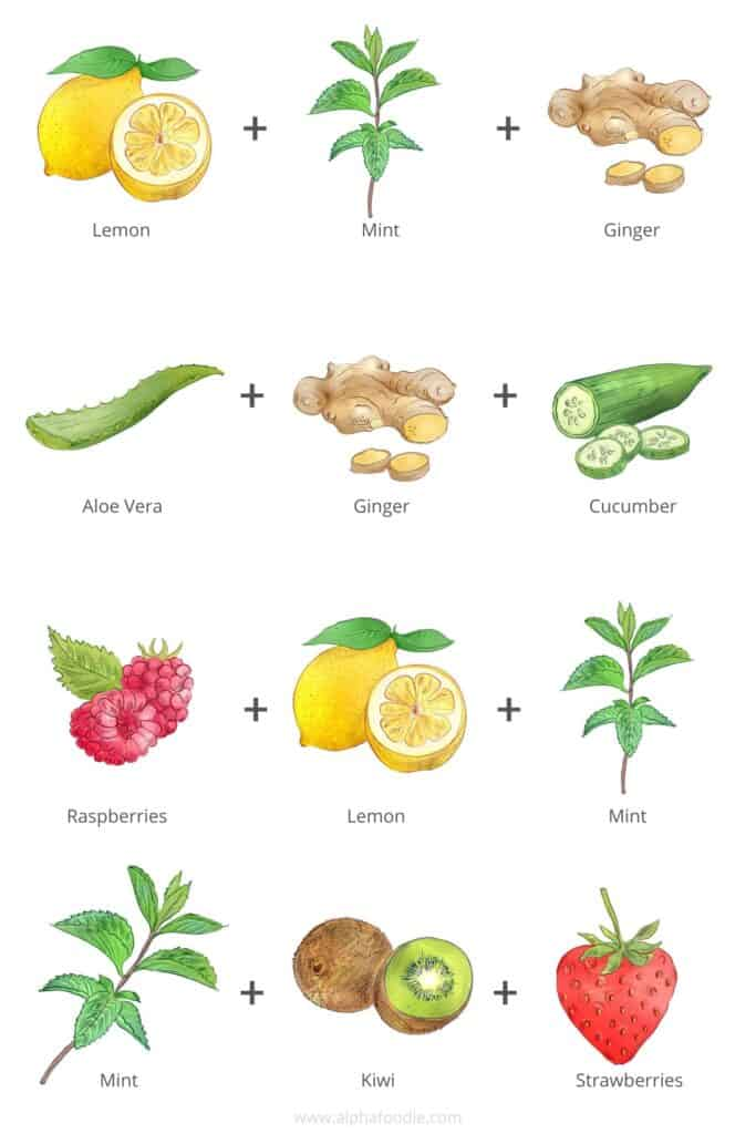 Drawings of fruit and spices for flavored water combinations