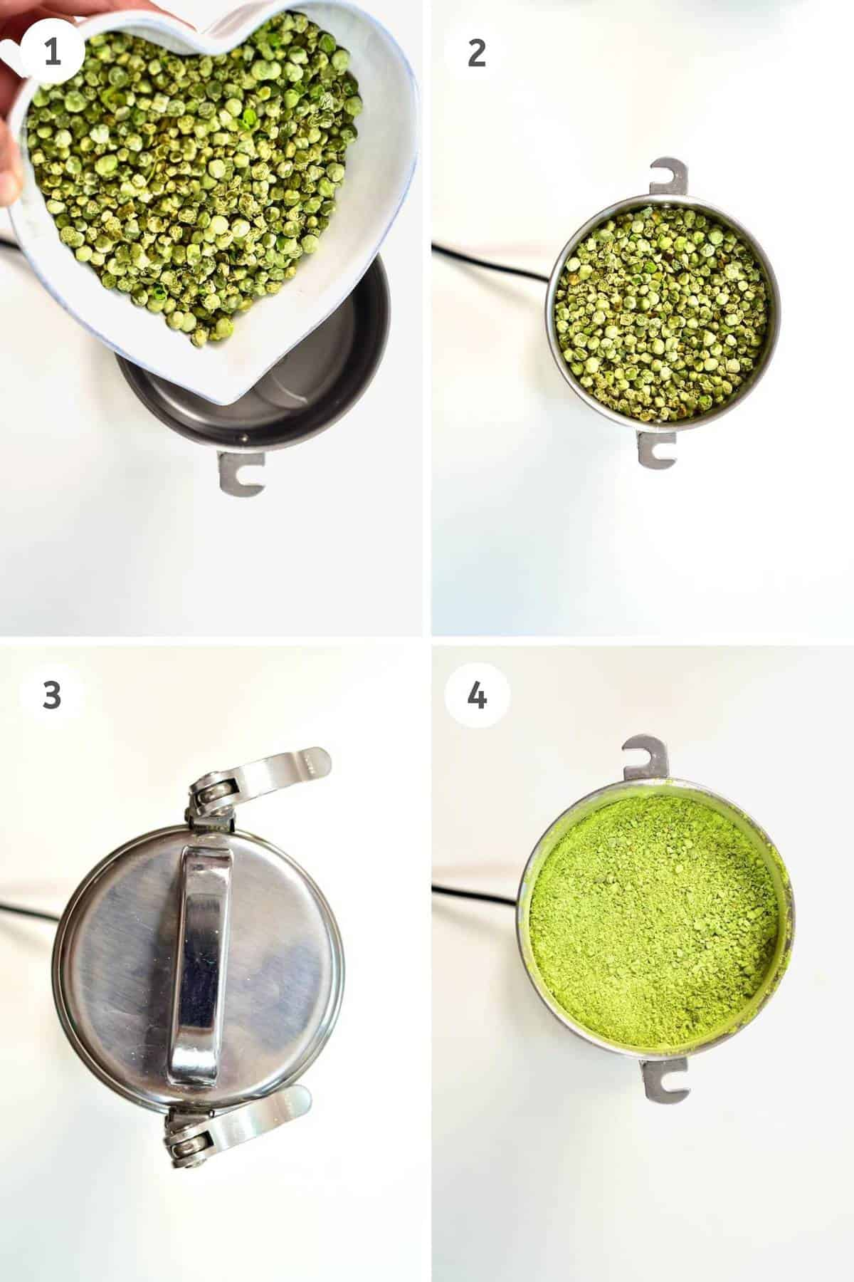 Collage of grinding dried peas into powder