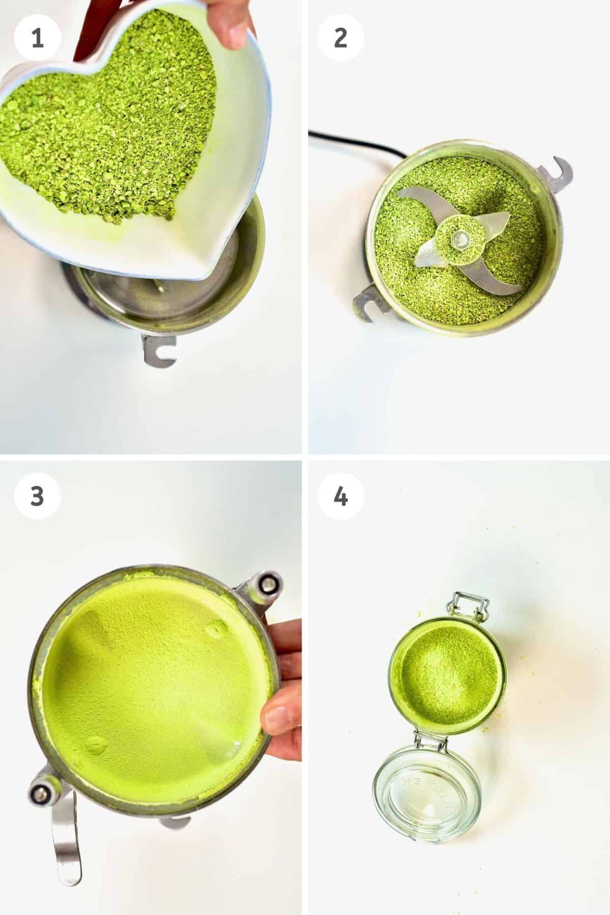 Collage of grinding pea powder