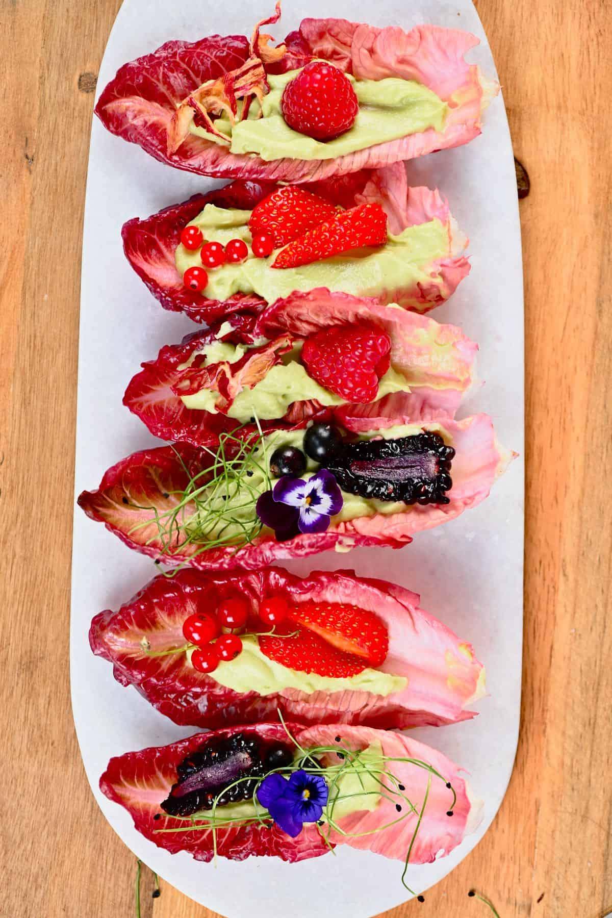 Healthy Berry Lettuce Wraps on a plate