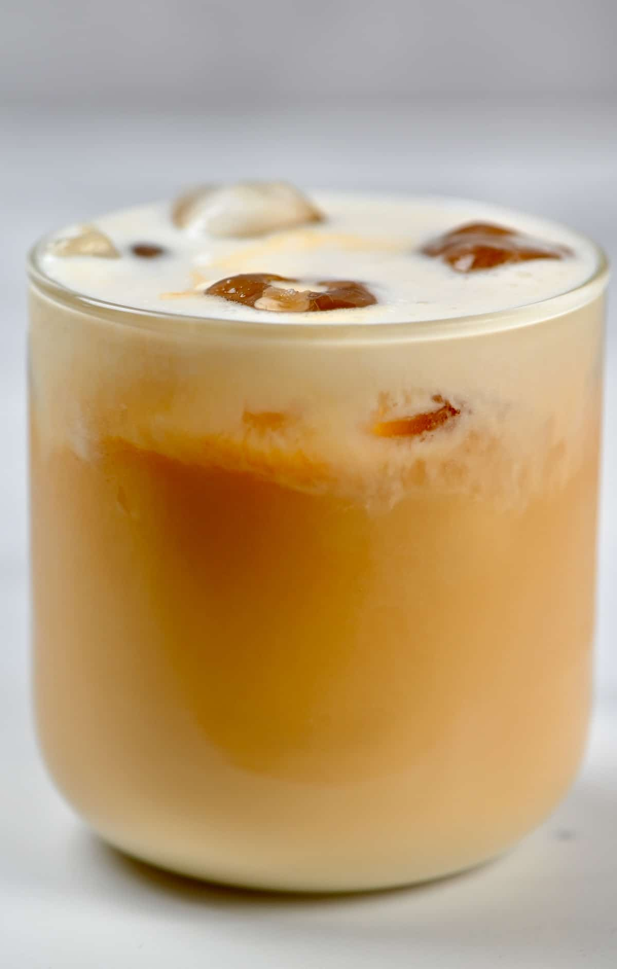 A glass with iced latte