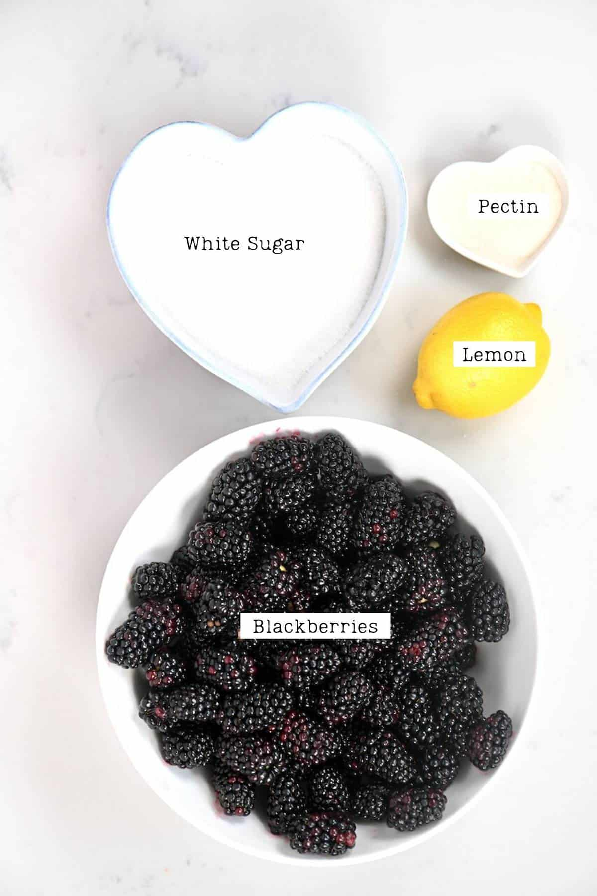 Ingredients for making Blackberry Jam