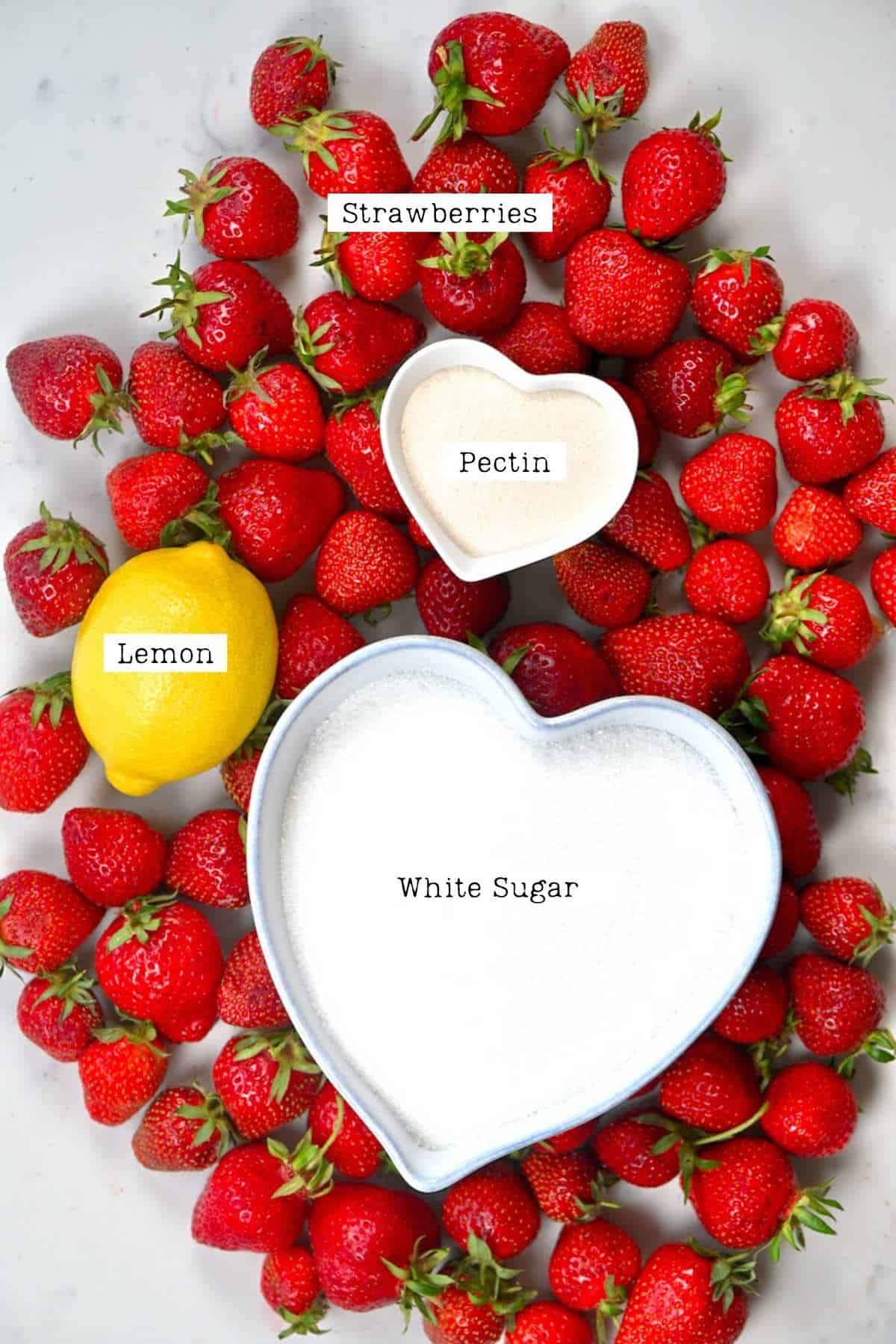 Ingredients for making Strawberry Jam