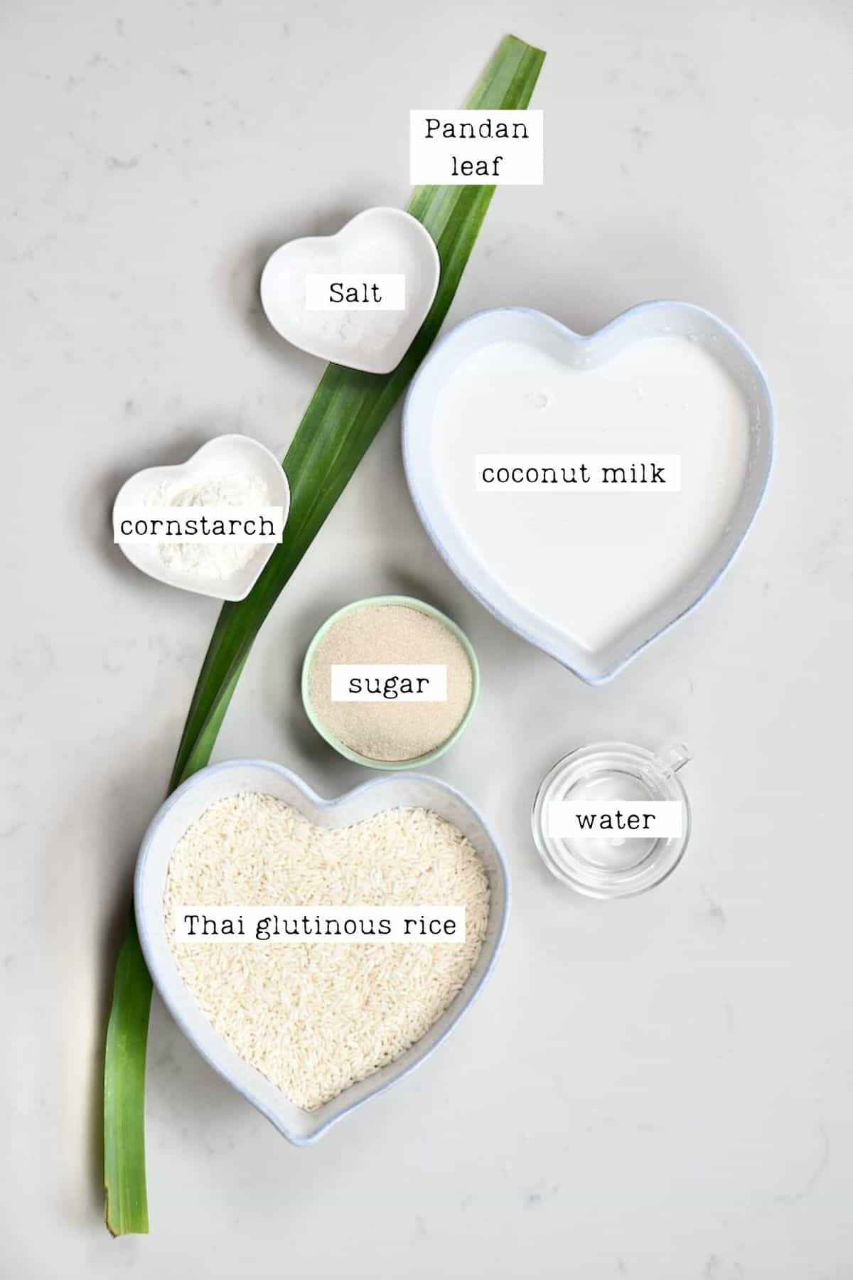 Ingredients for Thai coconut sticky rice