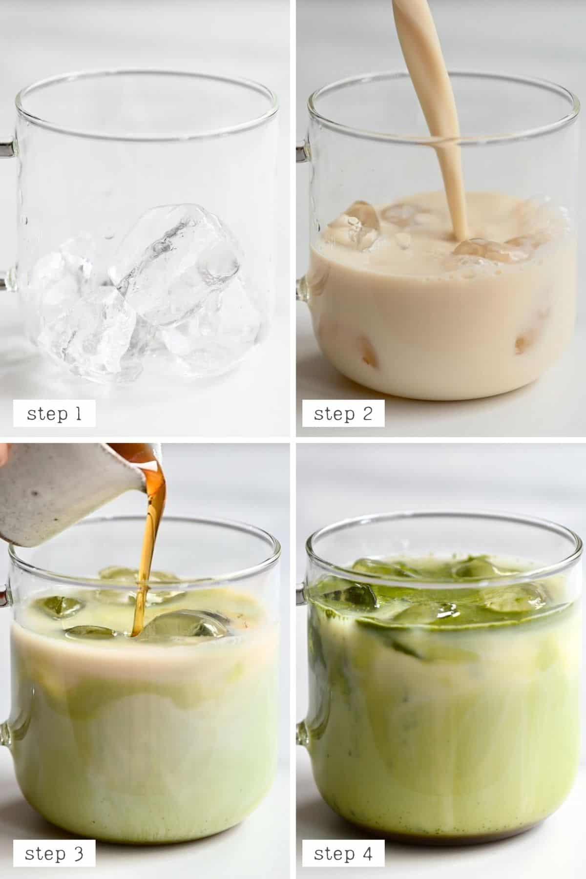 Steps for making iced matcha latte