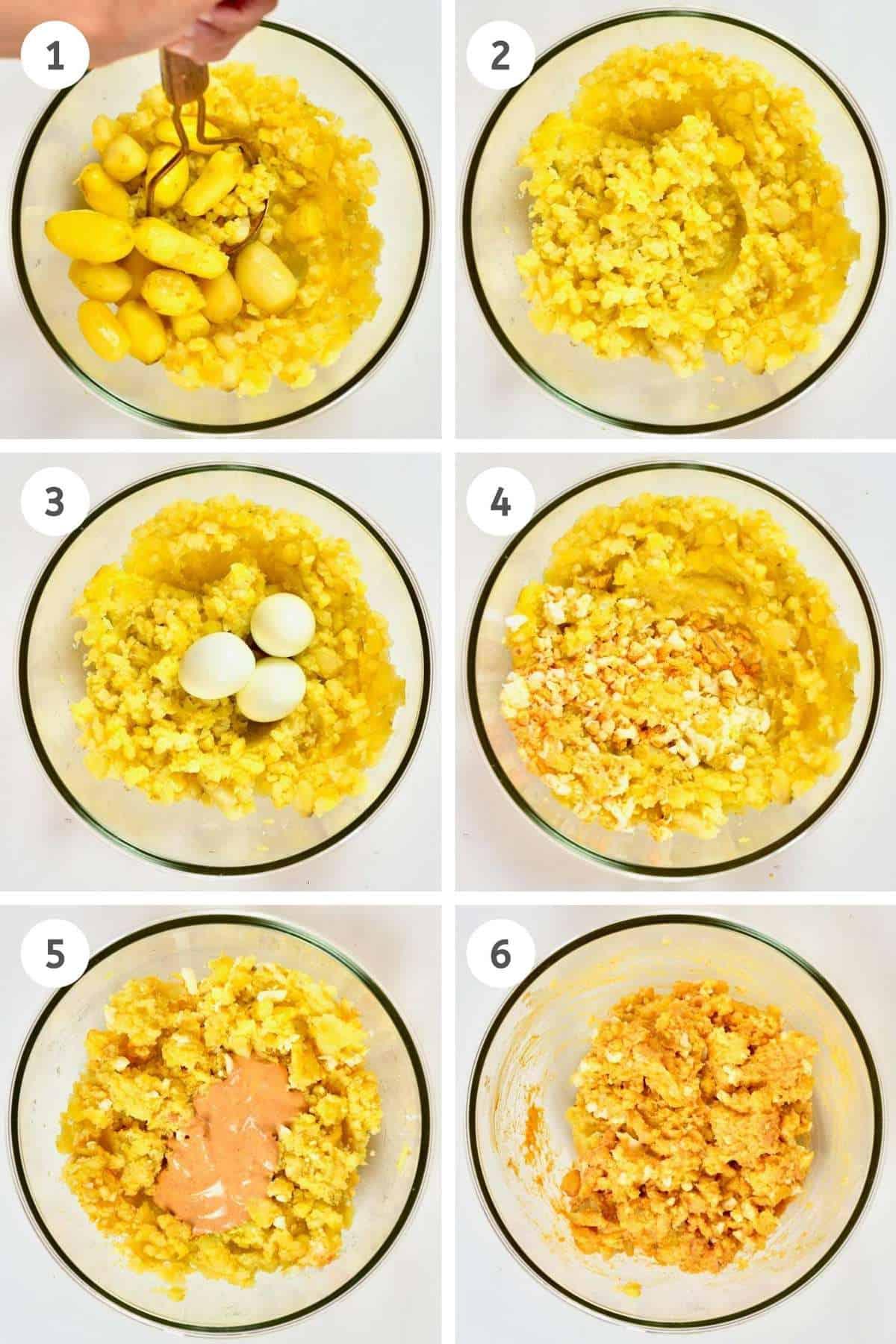 Mashing potatoes and eggs for potato salad