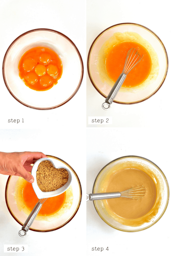 Mixing eggs and sugar for ice cream