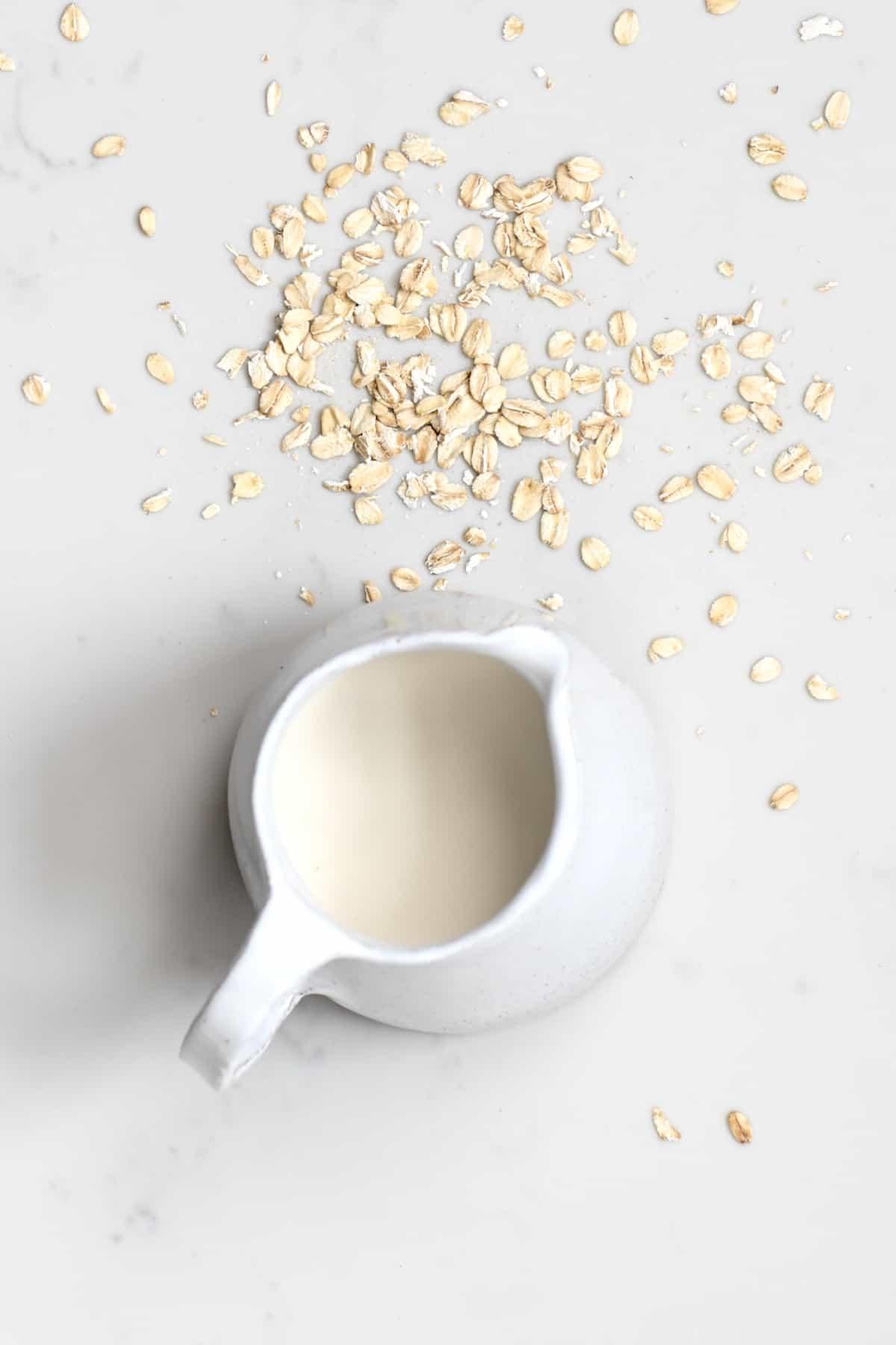 Oat creamer in a milk pourer