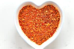 Oil and chilli flakes in a heart bowl