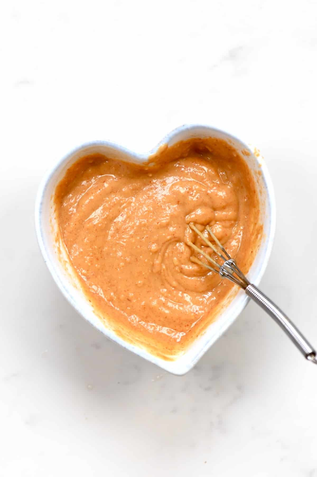 Peanut Dipping Sauce in a heart shaped bowl