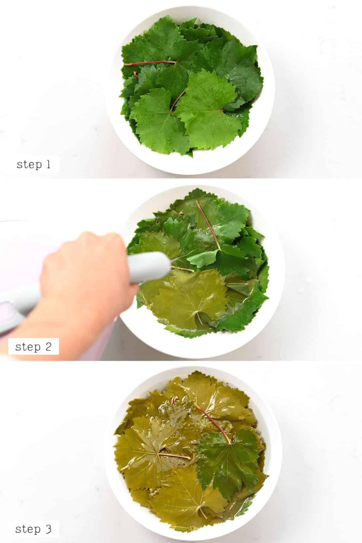Preparing vine leaf wraps