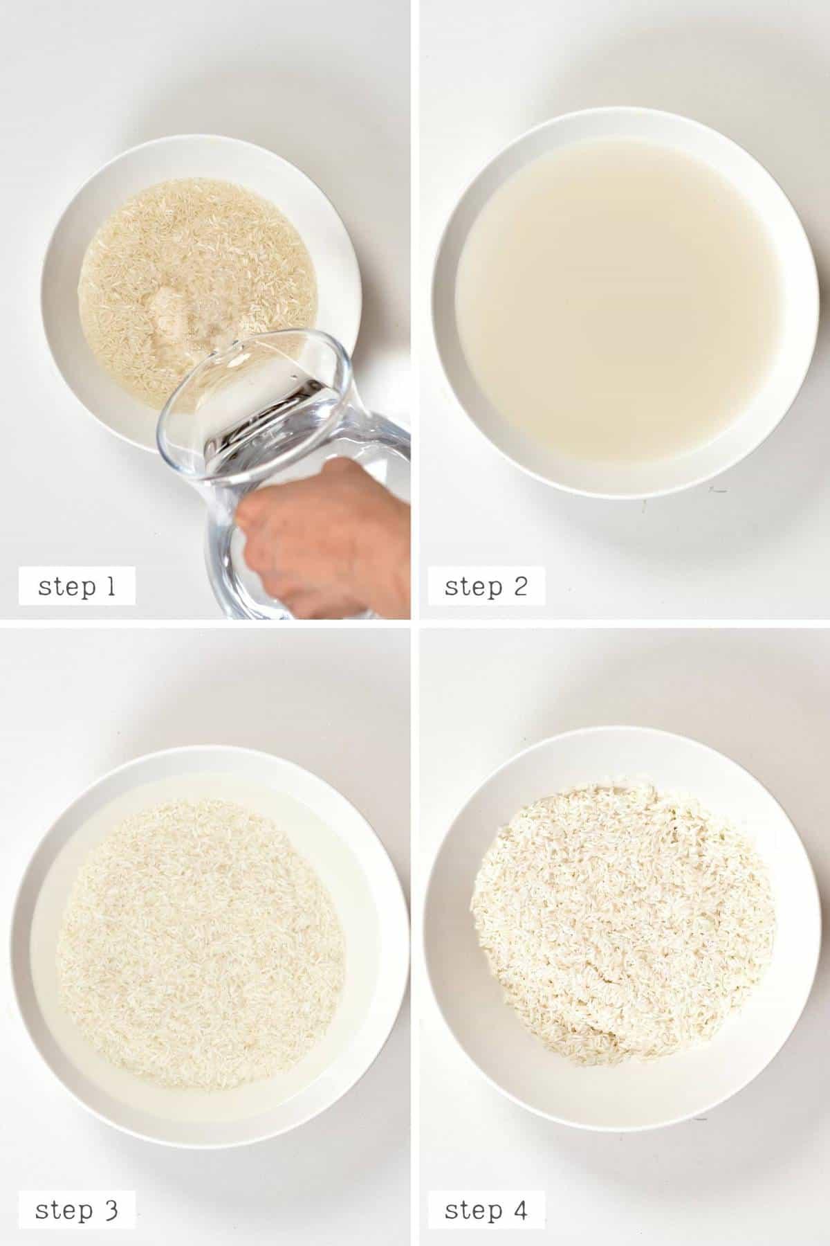 Rinsing long grain rice steps
