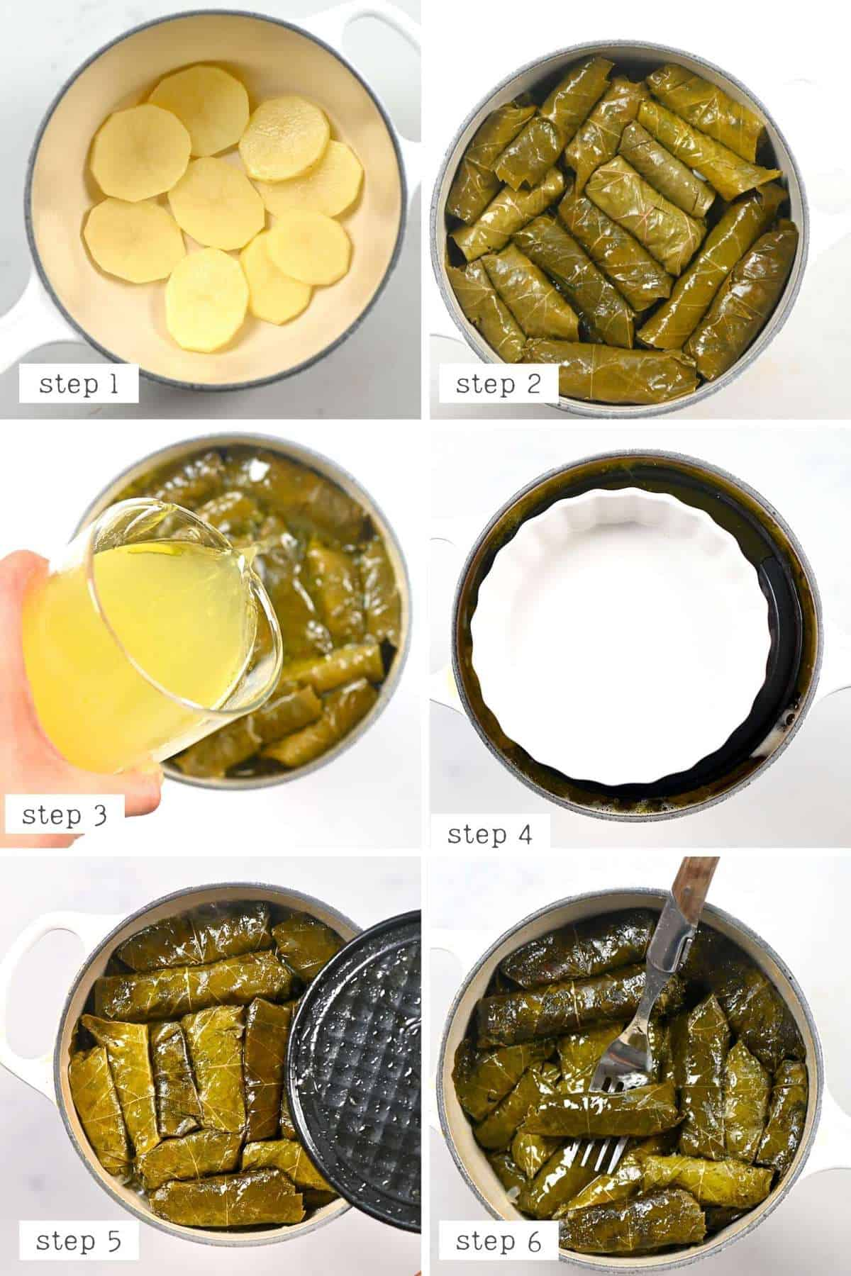 Steps for cooking vine leaves