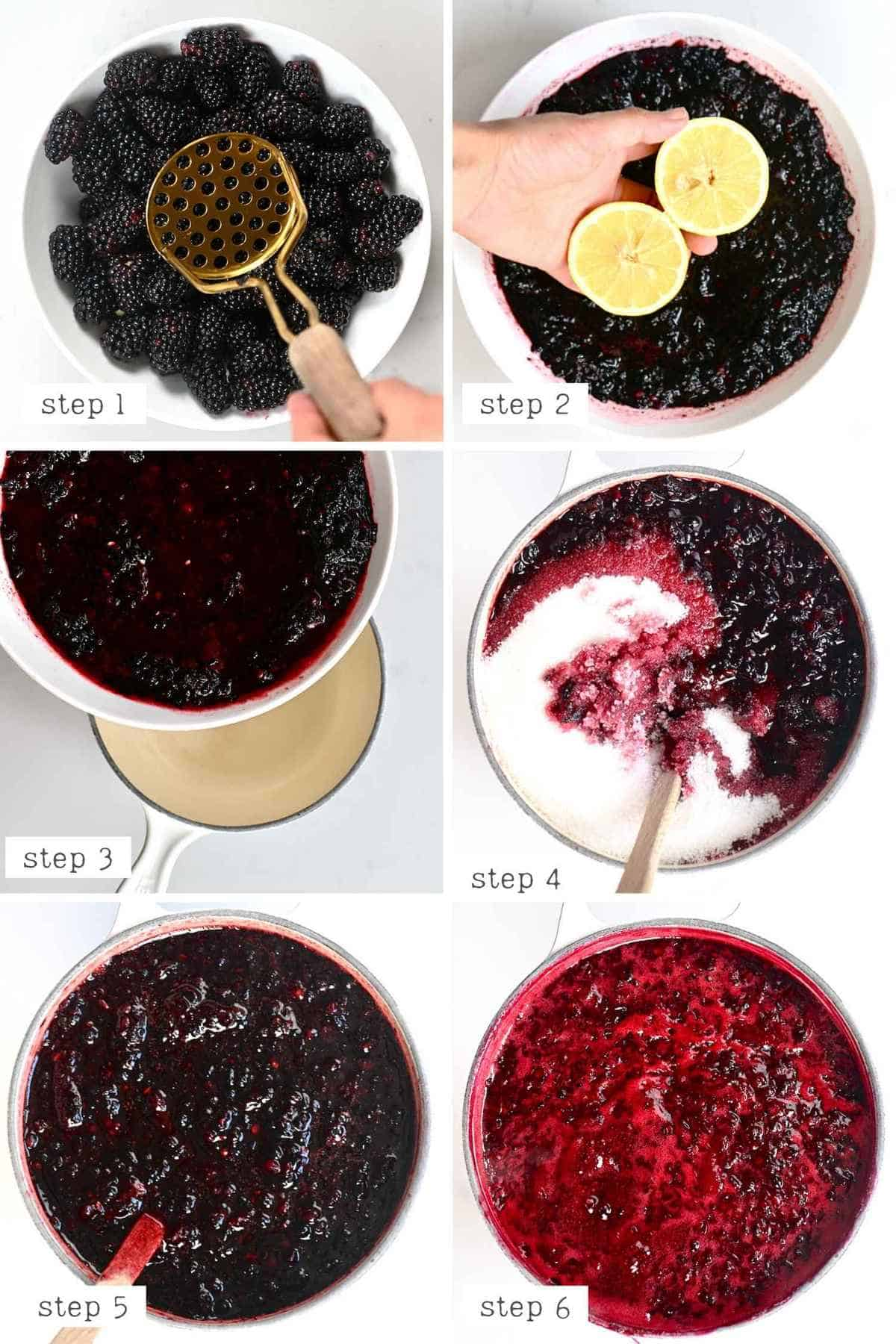 Steps for making Blackberry Jam