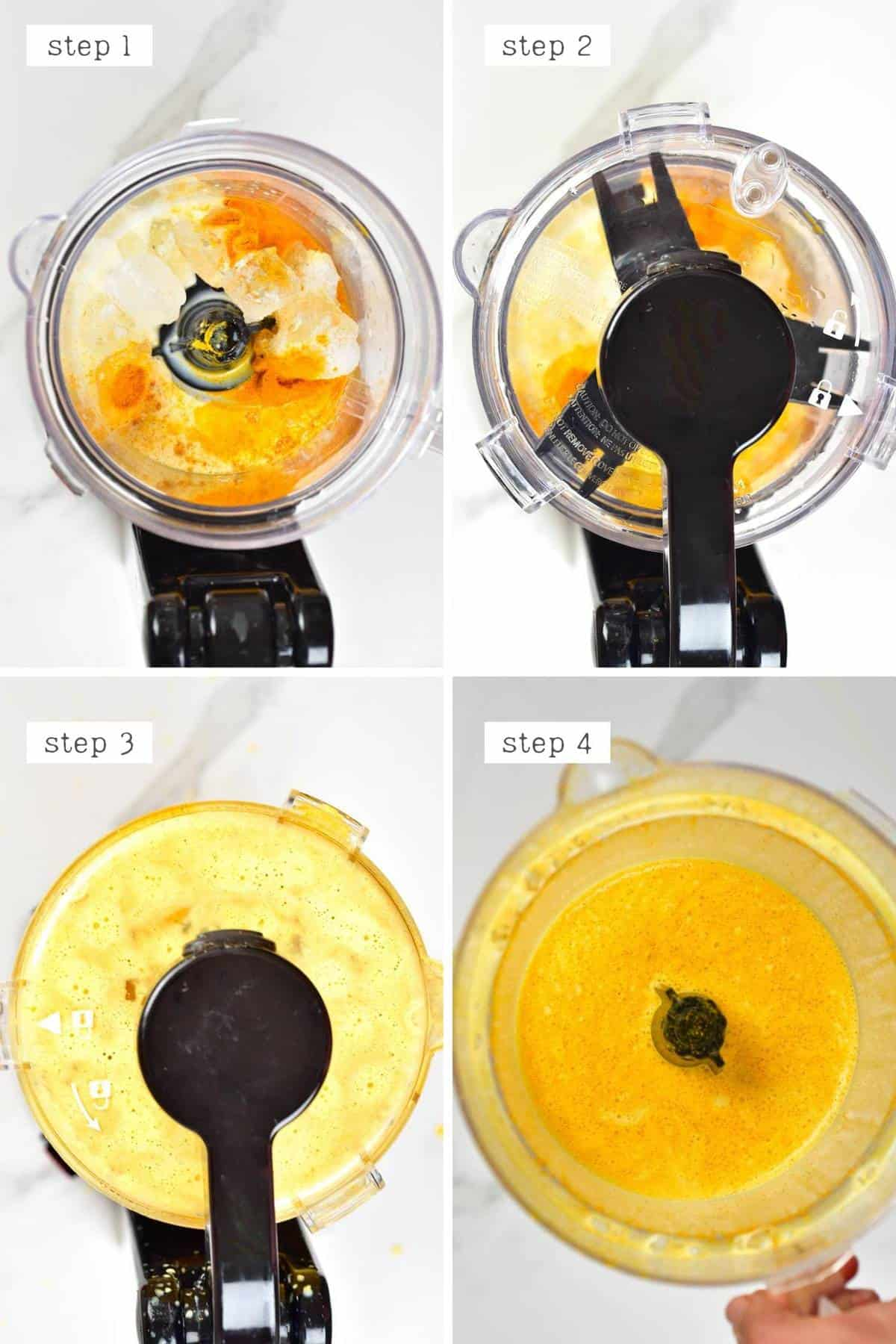 Steps for making Golden Frappuccino