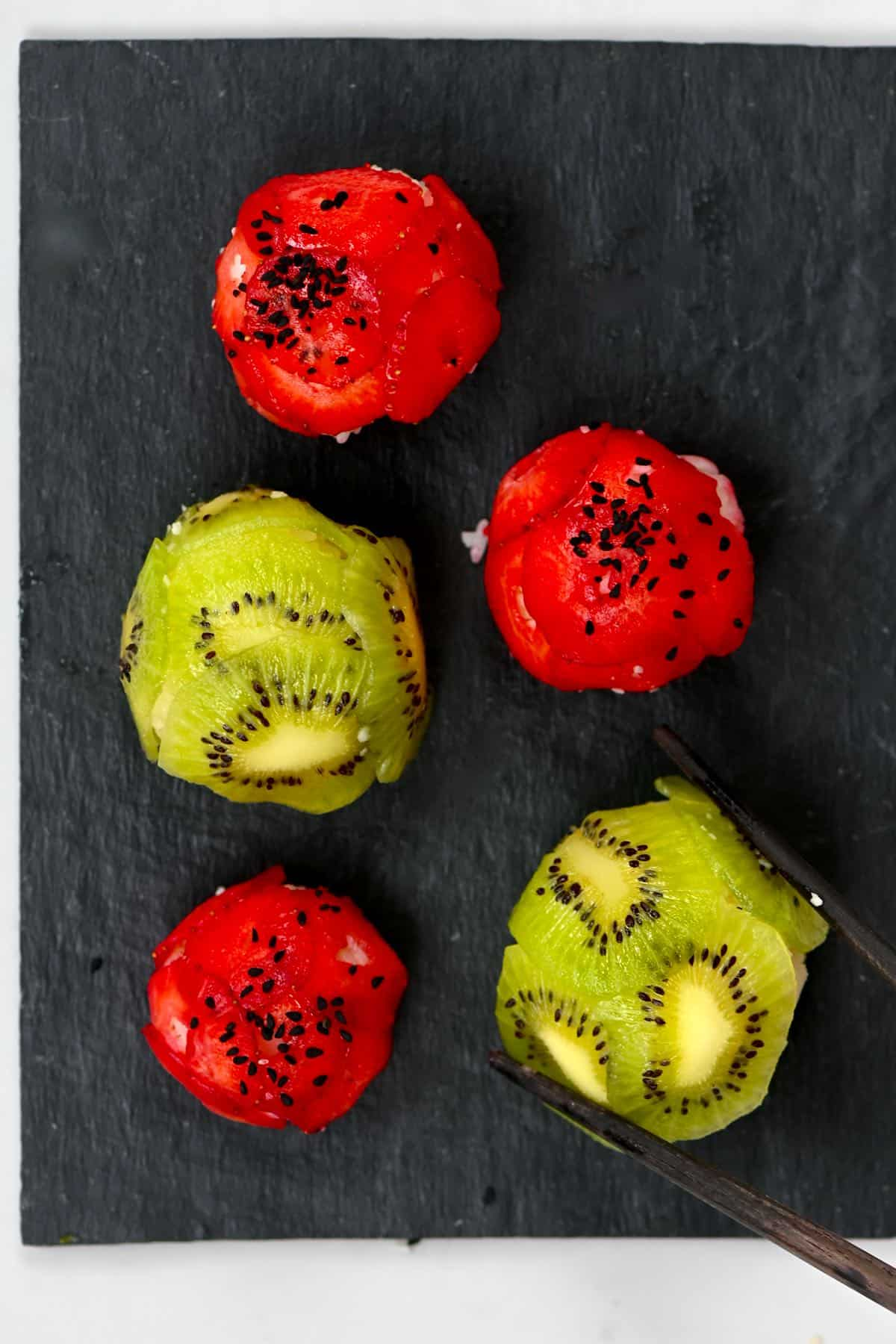 Strawberry and kiwi sushi balls