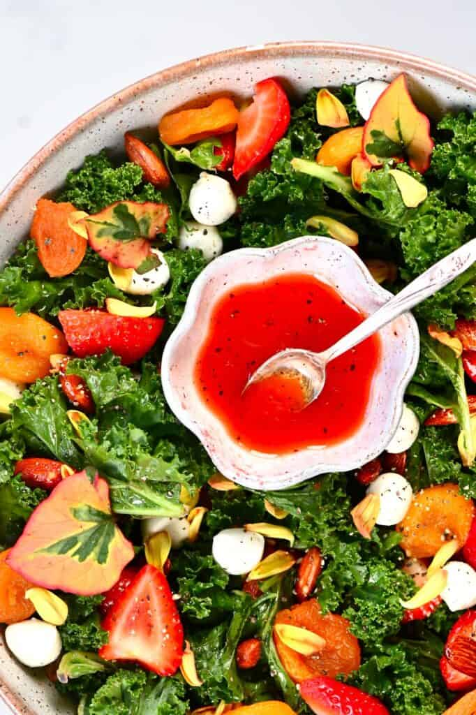 Strawberry small Salad dressing Bowl inside a salad bowl