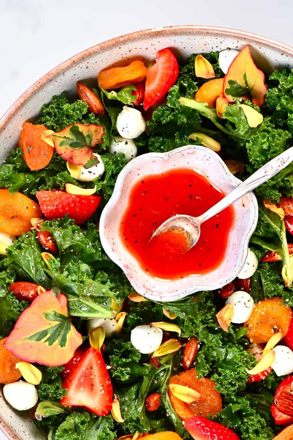 Strawberry small Salad dressing Bowl inside a salad bowl