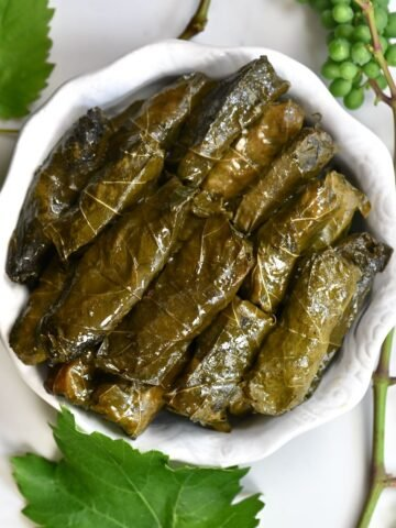 Stuffed Grape Leaves in a bowl - square photo