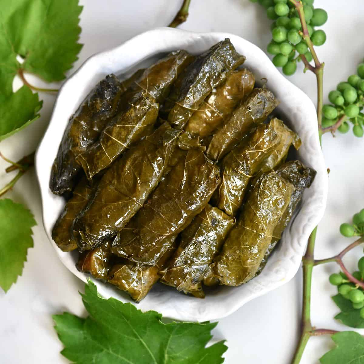 Vegetarian Stuffed Grape Leaves Dolmas Alphafoodie