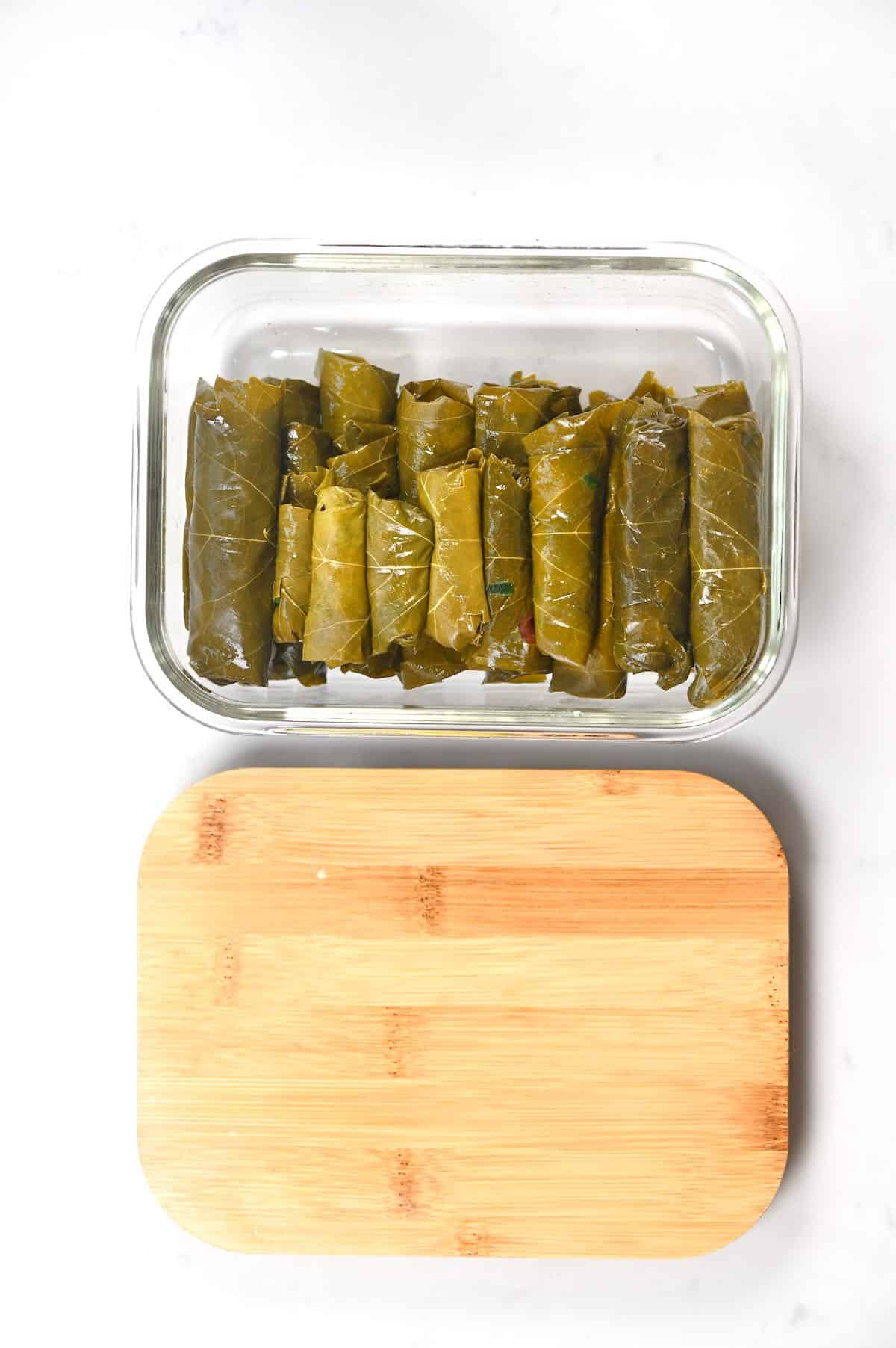 Stuffed Vine Leaves in a freezer container