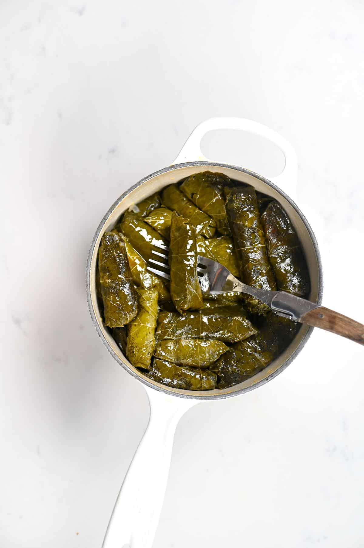 Cooked Stuffed Vine Leaves in a pot