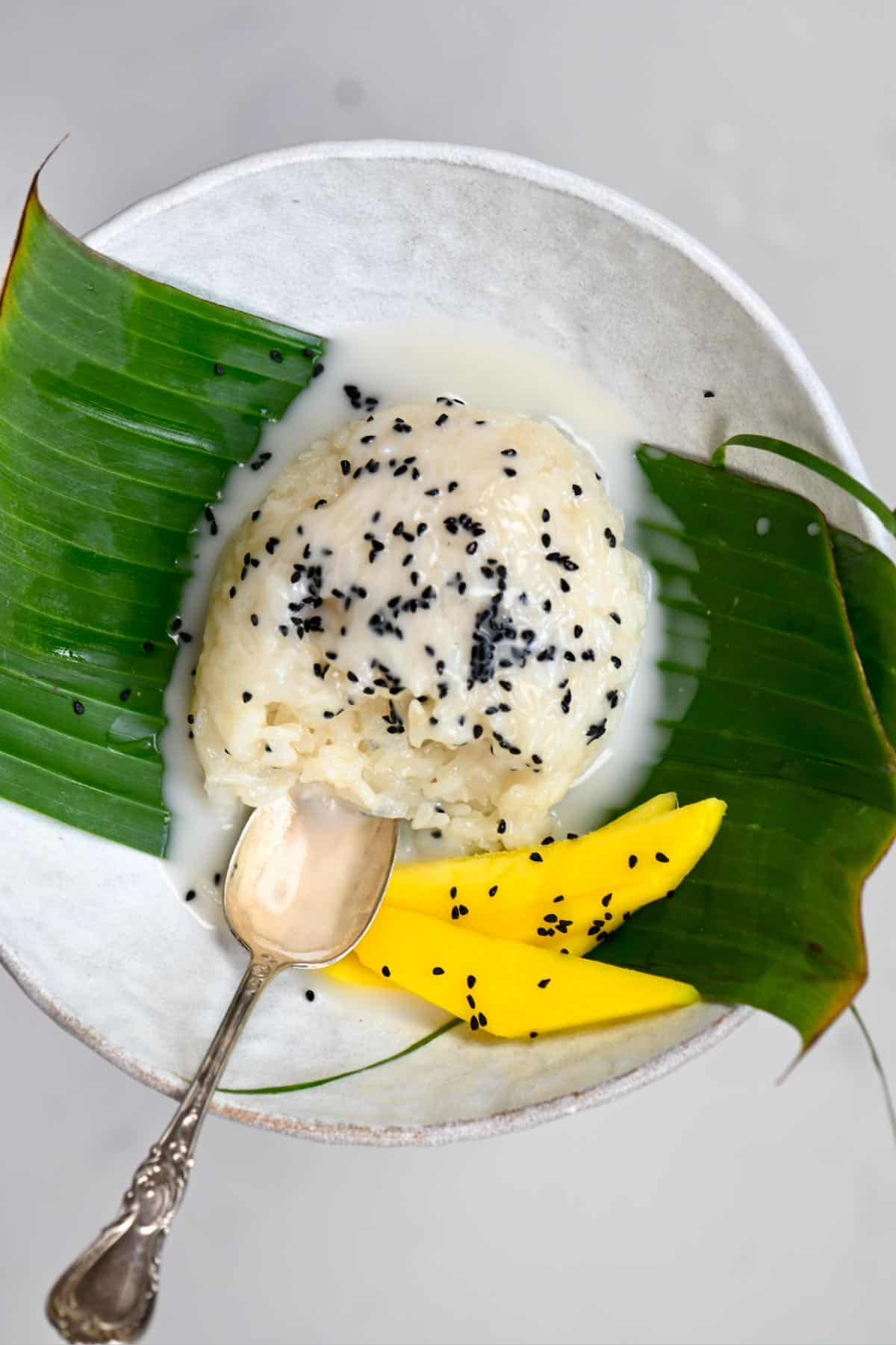 Thai Coconut Sweet Sticky Rice With coconut sauce