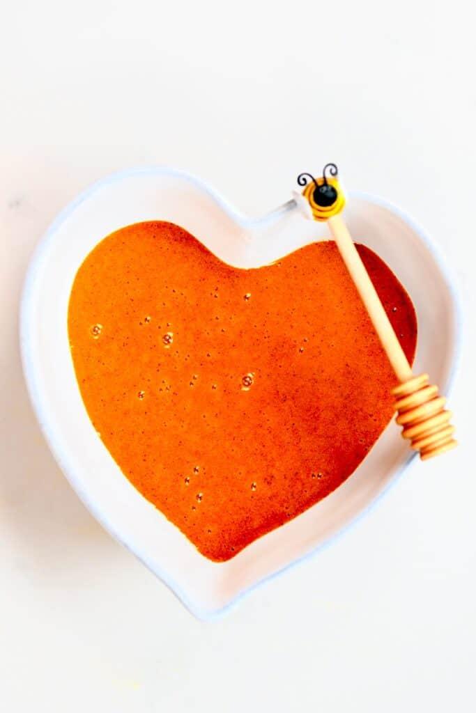 Turmeric Honey in a heart bowl