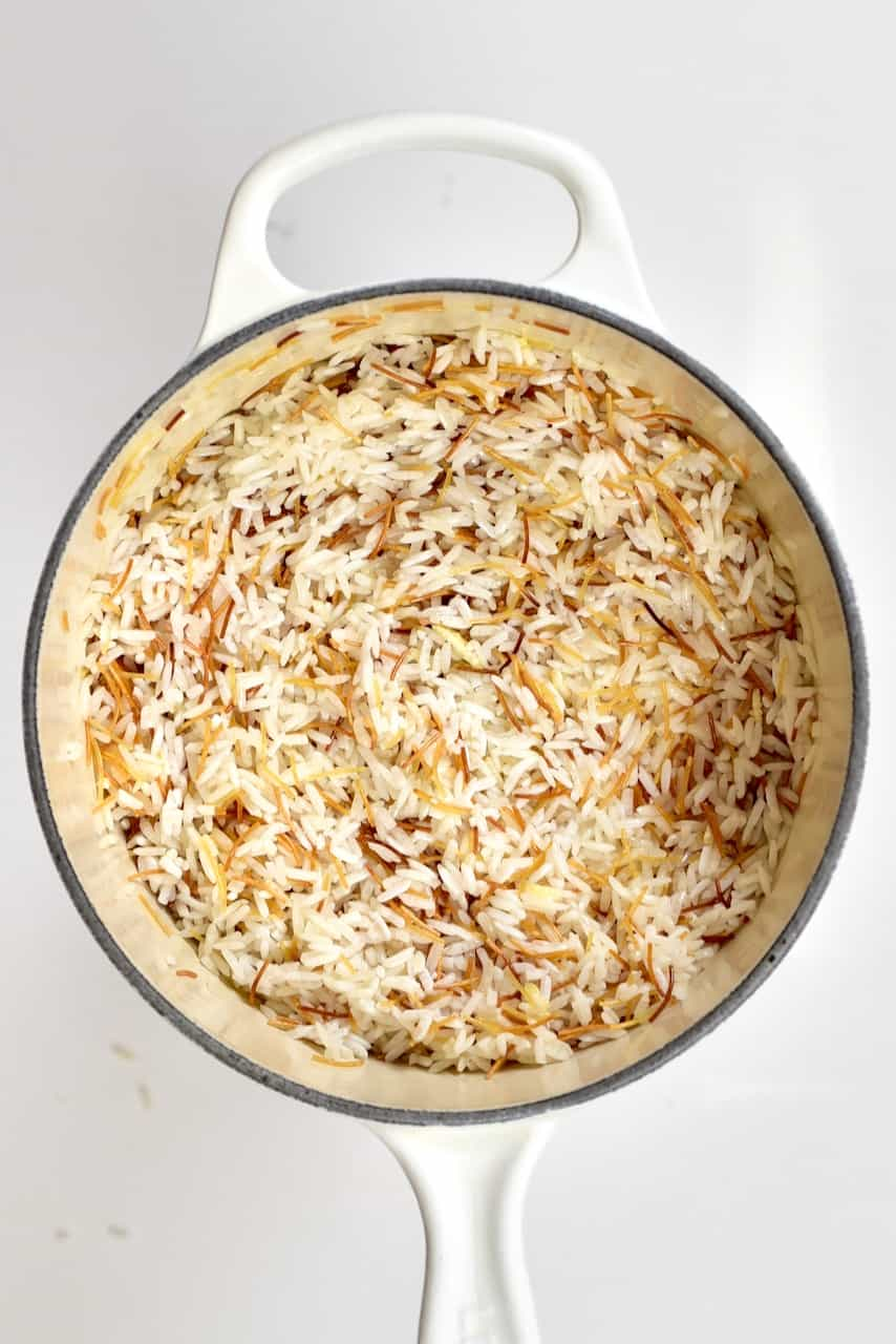 Vermicilli Rice before cooking in a white pot