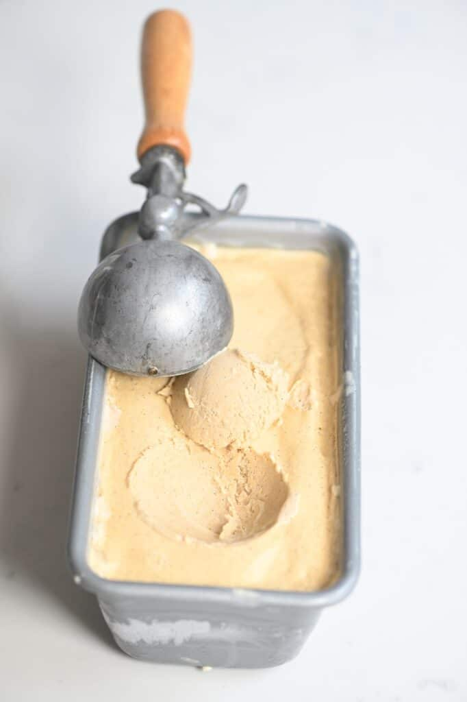 caramel ice cream with a scoop